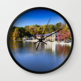Boathouse on Lake Carnegie with Autumn Foliage Wall Clock