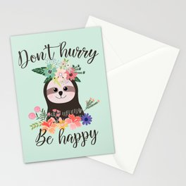 SLOTH ADVICE (mint green) - DON'T HURRY, BE HAPPY! Stationery Cards