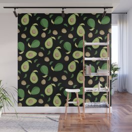 Avocado gen z fashion apparel food fight gifts black Wall Mural