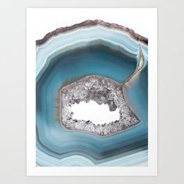 Deep Blue Agate with Amethyst Art Print