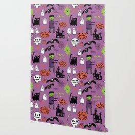 Cute Frankenstein and friends purple #halloween Wallpaper