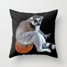 Cute ring tail monkey and basketball, soccer ball. Animal photo art. Throw Pillow