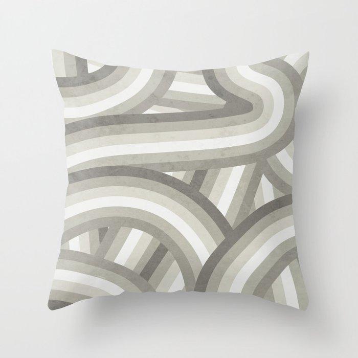 Retro Beige/Greige Stripe Pattern Throw Pillow