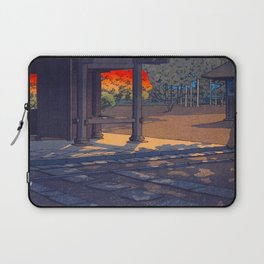 Vintage Japanese Woodblock Print Colorful Fall Trees Shinto Shrine Japanese Architecture Laptop Sleeve