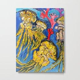 Jelly Fish    Oil Painting   #society6   #decor  #buyart Metal Print