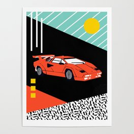Wicked - sports car 80s retro throwback memphis style motorhead Poster