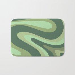 Retro Liquid Swirls Abstract Pattern in Basil and Mint Green Bath Mat