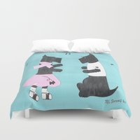 50s Duvet Covers featuring Back to the 50s - Scottish Terriers by Mary Louise Simmons