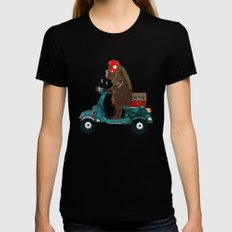 scooter bear Womens Fitted Tee Black MEDIUM