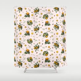 Oranges and Butterflies in Blush Shower Curtain