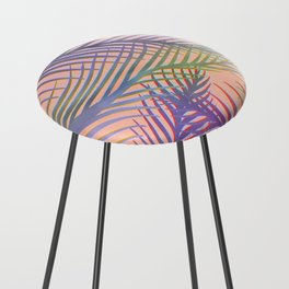 Palm Leaves Pattern - Purple, Peach, Blue Counter Stool