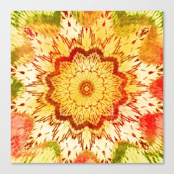 tie dye mandala in sunny mood Canvas Print by mpzstudio