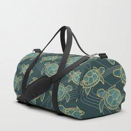 Japanese Pond Turtle / Teal Duffle Bag