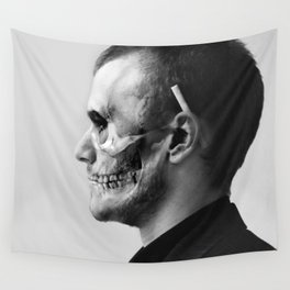 Skull Double Exposure Wall Tapestry