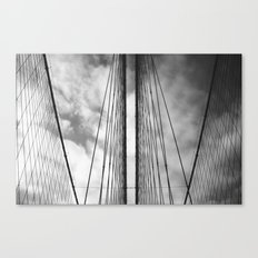 New York - Brooklyn Bridge, Black and White Canvas Print