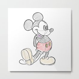 Mickey Sketch Metal Print