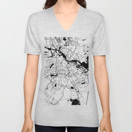Amsterdam White on Black Street Map Unisex V-Neck