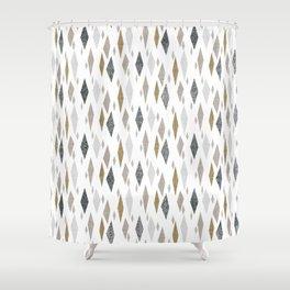 Danish Diamond Mid-Century Geometric Print Tan Shower Curtain