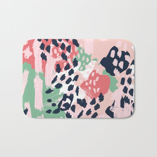 Leia - abstract painting cute minimal navy coral mint pastels painterly boho chic decor Bath Mat