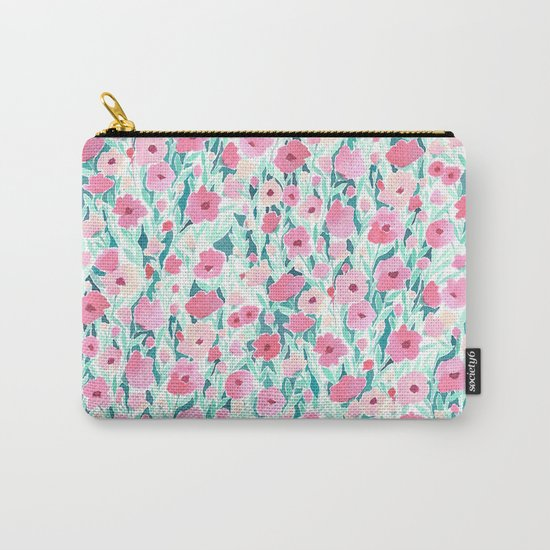 Flower Field Pink Mint Carry-All Pouch