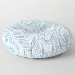 Baby blue watercolor herringbone  Floor Pillow