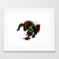 street fighter Framed Art Prints featuring Blanka Rush! - Street Fighter by Peter Forsman