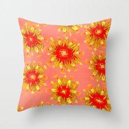 Golden Apricot Rose Throw Pillow