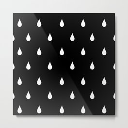 Black and white rain drops Metal Print