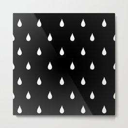 Black and white rain drops Metal Print