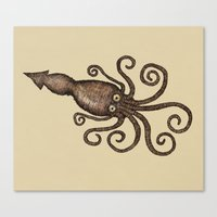 kraken Canvas Prints featuring Kraken by D.J.R.B.