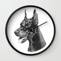 doberman Wall Clocks featuring Doberman by Danguole Serstinskaja
