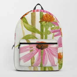 Pink Coneflower Butterfly Watercolor Backpack