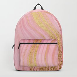 Walk with the waves - Pink and Gold Mermaid Marble Backpack