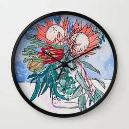 Painterly Vase of Proteas, Wattles, Banksias and Eucayptus on Blue Wall Clock