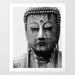 Buddha Statue, Buddha Photograph, Black and White Buddha Print Art Print