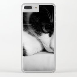 Cat black and white Clear iPhone Case