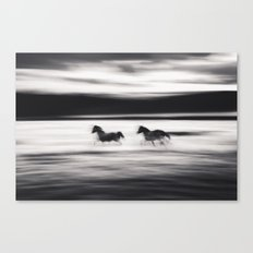 Horses in Abstract Canvas Print