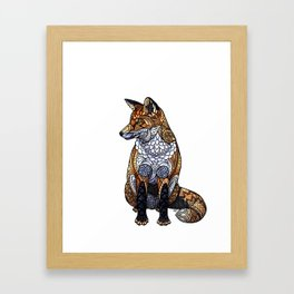 Stained Glass Fox Framed Art Print
