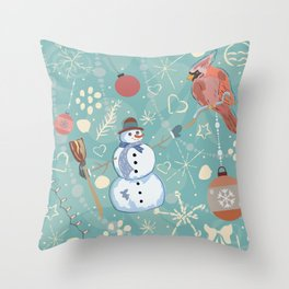 Seamless Winter Pattern with Christmas Ornaments Throw Pillow