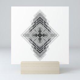 Vigorous and bold fractal geometric shapes with compass symbol Mini Art Print