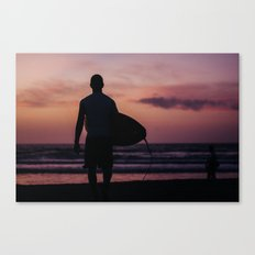 Surfing at Dawn in Cocoa FL USA Canvas Print