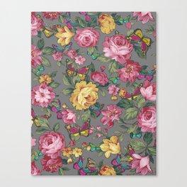 butterflies & roses Canvas Print