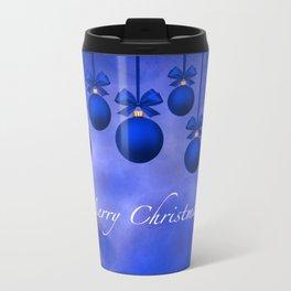 Merry Christmas Ornaments Bows and Ribbons – Blue Travel Mug