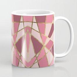 Girly Chic Pink & Burgundy Geo Gold Triangles Coffee Mug