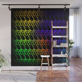 Interweaving pattern of neon squiggles and yellow ropes on a black background. Wall Mural