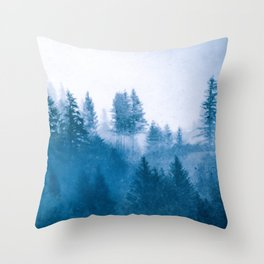 Blue Winter Day Foggy Trees Throw Pillow