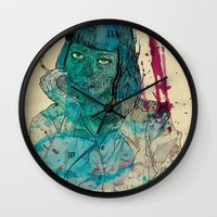 mia wallace Wall Clocks featuring Mia  by Albert F. Montoya