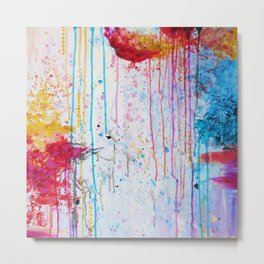 HAPPY TEARS Bright Cheerful Abstract Acrylic Painting, Drip Splat Bold Pink Red Purple Spring Art Metal Print