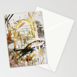 Armor [9]:a bright, interesting abstract piece in gold, pink, black and white Stationery Cards