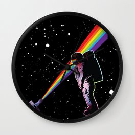 Rainbow Astronaut in Space  Wall Clock